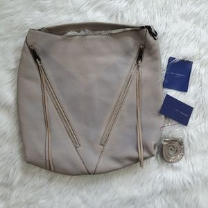 Rebecca Minkoff Moto Hobo Bag Gray Pebbled Leather